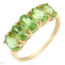 5/2.50ctw Genuine Natural Oval Green PERIDOT 10K Yellow Gold Gemstone Ring sz7