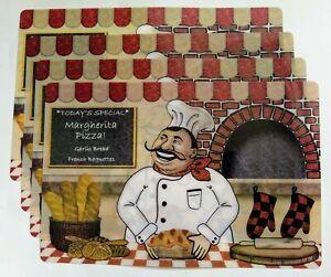"4 Pc Fat Chef Bistro Pizza Placemats 17""x11.5"" Kitchen Table Decor"