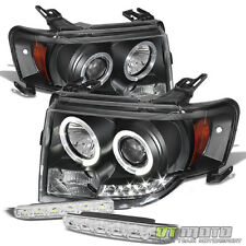 For 08-12 Ford Escape Blk Halo Projector Led Headlights+Smd DRL Bumper Fog Lamps