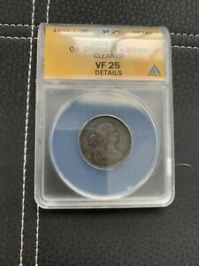 1804 Half Cent C-1 Crosslet 4 With Stems Cleaned VF25 ANACS