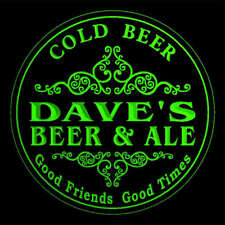 4x ccqs0271-g DAVE'S Beer & Ale Cold Beer Bar Engraved Coasters