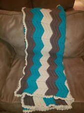 New: Handmade Crochet Afgan Medium Blanket / Throw - Beige/Taupe/Teal (48x66)