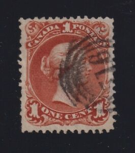 Canada Sc #22ii (1868) 1c brown red Large Queen on Bothwell Paper Used