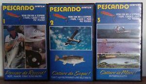 3 VHS Ita Documentario Sportivo PESCANDO 1,2,3 Avofilm raro! no dvd cd lp (V207)