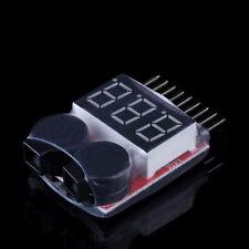 New 1-8S Lipo Li-ion Fe Battery Voltage 2IN1 Tester Low Voltage Buzzer Alarm CA