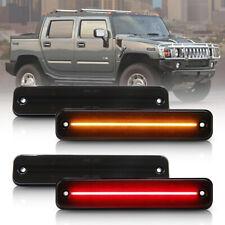 Smoke Lens LED Side Marker Light for 2003-2009 Hummer H2 Amber/Red Front/Rear 4X