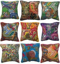 Indian Bengali Cotton Floral Kantha Cushion Cover Covers Handmade 40x40 cms