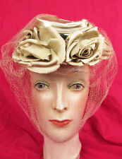 Rare Wwii 40s Tilt Topper Toy Hat Satin Roses War Bride 1940s Wedding