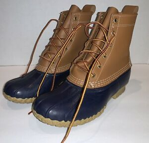 LL BEAN womens blue leather lace-up unlined duck boots sz 9 M