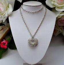 Modeschmuck-Halsketten & -Anhänger aus Strass und Edelstahl mit Herz für Damen