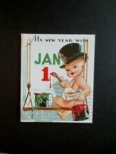 L394 Vintage Unused Xmas Greeting Card Baby New Year with Top Hat Painting
