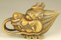 Chinese old bronze Hand carving dragon head statue collectable tea pot decorate