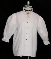 "WHITE SHIRT Blouse PINCH PLEATS German RUFFLE Button Up Front Dirndl B44"" 16 L"