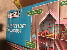 Kid Kraft Mia Petloft Dollhouse! Over 4 Ft Tall! Made Of Real Wood!