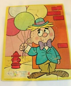 Vintage Tee Pee Toys Jessup Paper Box Cardboard tray Puzzle Hobo Balloons 12 Pc