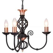 CLASSIC 3 LIGHT MULTI ARM CEILING LIGHT IN BLACK COPPER FINISH WITH BARLEY TWIST