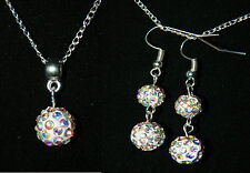 """Handmade AB Pave Crystal Disco Ball Silver Necklace Earrings Jewelry Set 16"""""""