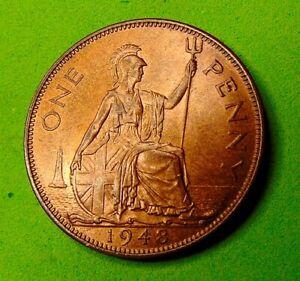 BLAZING  RED  LUSTED  UNC  *1948*  PENNY  1d ...LUCIDO_8  COINS