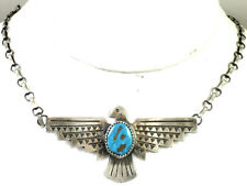 Beautiful Native American Sterling Silver Turquoise Thunderbird Necklace