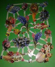 Poesiebilder Blumen Vergissmeinnicht mit Glitter Glanzbilder Oblaten Vintage