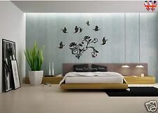 Flower and Butterfly wall stickers with silver glitter and rhinestones-S017