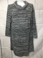 LOFT Outlet Funnel Cowl Neck Sweater Dress Black Marled Size XL