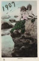 1900's VINTAGE TUCKS REAL PHOTO YOUNG GIRLS MERMAIDS POSTCARD to Sebastopol