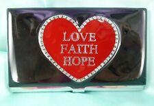 New Listinglove Faith Hope Black Red Heart Enamel Business Card Holder Silver Tone