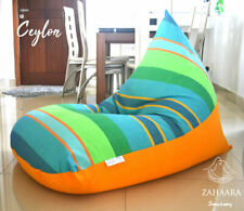 Large BEAN BAG chair covers, Green, blue, orange 100% COTTON, Lounger