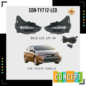 For 2017-2019 Toyota Corolla L, LE, XLE LED Bumper Fog Driving Lights w/Switch