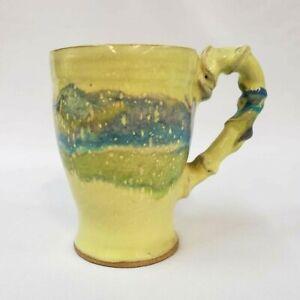 Mug Multicolored Drip Glaze Pottery Coffee Tea Yellow Signed Unique Vintage