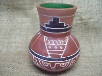 Vintage Mexican Folk Art Pottery Flower Vase Etched HandMade TerraCotta Red Clay