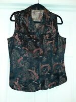 CHICO'S SIZE 1 ORIENTAL VEST  73% RAYON 27% SILK BLACK RED