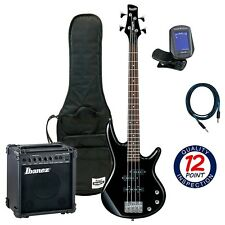 Ibanez GSRM20 BK Black Bass for Kids with Amp & Essentials Accessory Bundle