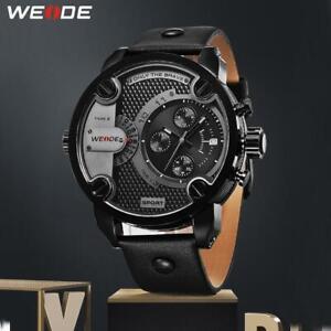 WEIDE Quartz Luxury Brand Analog Military Leather Strap Watch Sports Relogio Mas