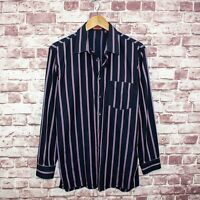 MISSONI Made in Italy Men's Button Front Shirt Blue w/ Purple Striped Size 50