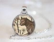 Vintage Leopard Jewelry Dome Tibetan silver Glass Chain Pendant Necklace