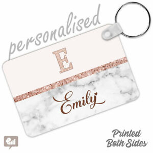 Personalised INITIALS Name Marble Glitter Heart Keyring Pink Ladies Girls Gift