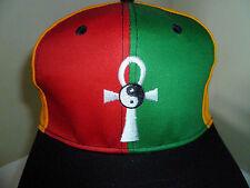 NWOT Ankh Yin Yang Red Gold Green Africa Adjustable Snapback Hat Cap