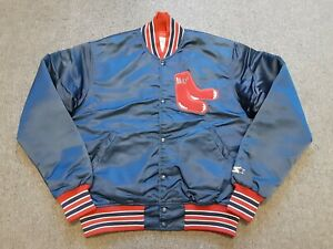 VTG 80s 90s Starter Boston Red Sox Nylon Satin Jacket Navy Medium M Made In USA