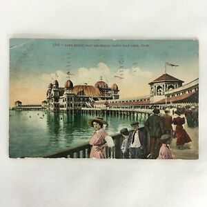 Antique 1913 GREAT SALT LAKE Utah Salt Air Beach Lake Front Postcard