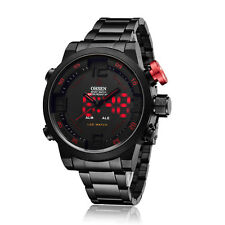 OHSEN Year Date Day Red LED Light Mens Quartz Black Steel Case Band Wrist Watch