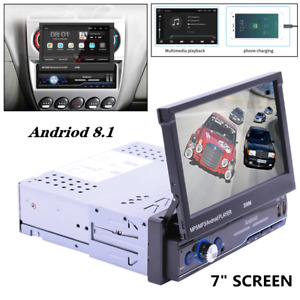 "7"" Screen HD Single 1DIN Flip Up GPS Navigation Car Stereo MP5 Player Radio BT"