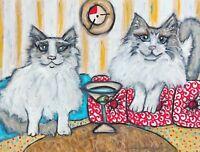 RAGDOLL CAT Drinking a Martini Art Print 8 x 10 Signed by Kimberly Helgeson Sams