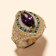 Two Tone New Year Jewelry Gifts Russian Purple Zircon Ring 925 Sterling Silver