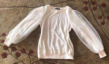 Anthropologie Harlowe & Graham Sweatshirt Top Lace Puffed Sleeved Small