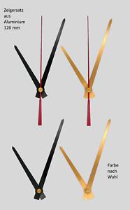 Zeiger Satz 120 mm Alu f. DIY, Wanduhren Uhrzeiger Set 12 cm gold schwarz Metall