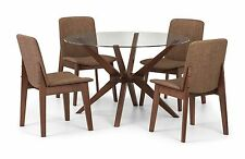 Chelsea Round Dining Table Only Glass & Walnut Finish by Julian Bowen