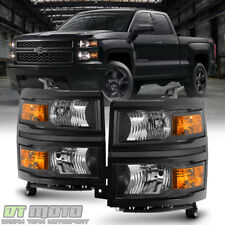Pair Black 2014-2015 Chevy Silverado 1500 Pickup Headlights Headlamps Left+Right