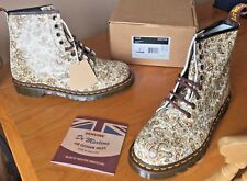 Dr Martens 1460 beige brown paisley leather boots UK 9 EU 43 Made in England